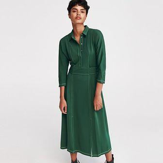 Reserved - Sukienka w stylu retro - Khaki