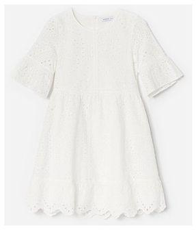 Reserved - Ażurowa sukienka z haftem - Kremowy