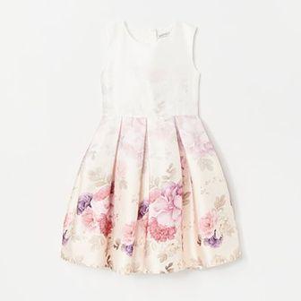 Reserved - Satynowa sukienka w kwiaty - Kremowy