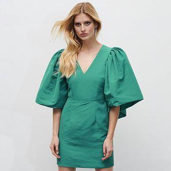 Reserved - Sukienka z szerokimi rękawami - Zielony
