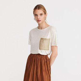 Reserved - T-shirt z kieszenią - Kremowy