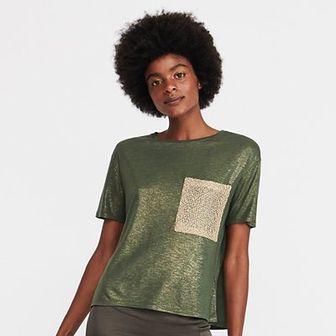 Reserved - T-shirt z kieszenią - Khaki