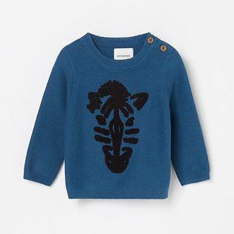 Reserved - Bawełniany sweter z ręcznikową aplikacją - Turkusowy