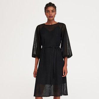 Reserved - Sukienka z bufiastymi rękawami - Czarny