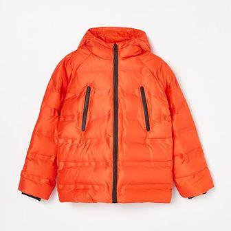 Reserved - Pikowana kurtka z kapturem i kieszeniami - Czerwony