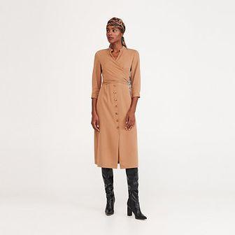 Reserved - Sukienka midi z Tencelu™ - Beżowy