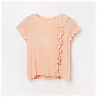 Reserved - T-shirt z falbanką - Kremowy