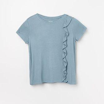 Reserved - T-shirt z falbanką - Niebieski