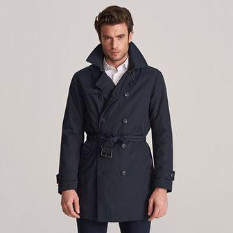 Reserved - Dwurzędowy płaszcz z paskiem - Granatowy