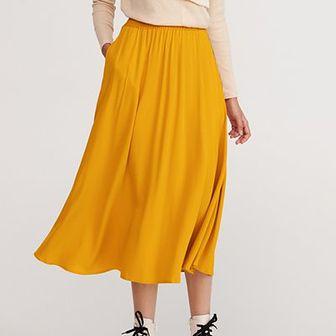 Reserved - Rozkloszowana spódnica - Żółty