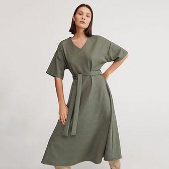 Reserved - Sukienka ze strukturalnej dzianiny - Khaki