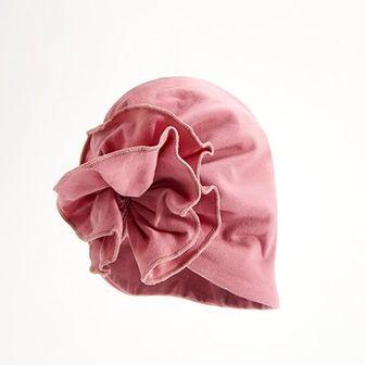 Reserved - Bawełniany turban niemowlęcy z marszczeniem w formie kwiatu - Różowy