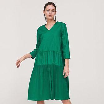 Reserved - Sukienka z plisowaniem - Zielony