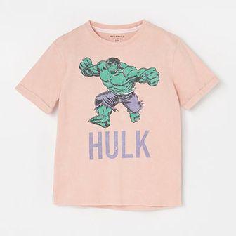 Reserved - Bawełniany t-shirt z Hulkiem - Różowy