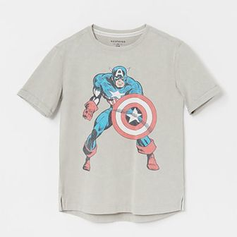 Reserved - Bawełniany t-shirt z Kapitanem Ameryką - Jasny szary