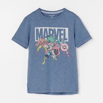 Reserved - Bawełniany t-shirt z motywem Marvel - Granatowy