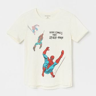 Reserved - Bawełniany t-shirt ze Spider-Manem - Kremowy