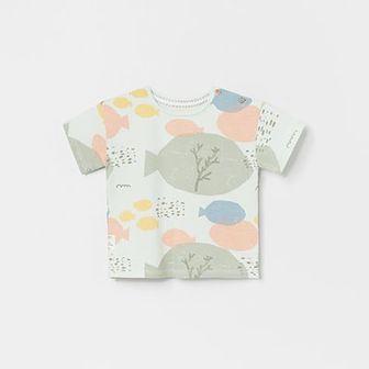 Reserved - Wzorzysty t-shirt z bawełny organicznej - Zielony