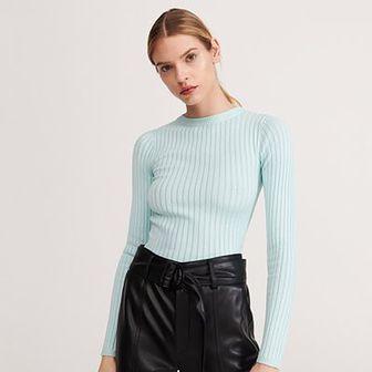 Reserved - Sweter z prażkowanej dzianiny - Turkusowy