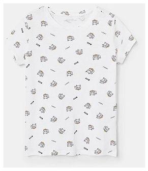 Reserved - Bawełniany t-shirt ze wzorem - Biały