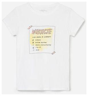 Reserved - Bawełniany t-shirt z nadrukiem - Biały