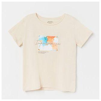 Reserved - Bawełniany t-shirt z nadrukiem - Beżowy