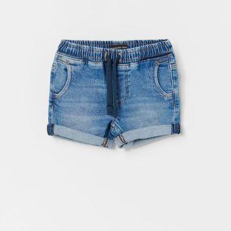 Reserved - Szorty jeansowe z efektem sprania - Niebieski