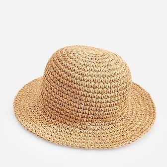 Reserved - Pleciony kapelusz z papierowej słomki - Beżowy