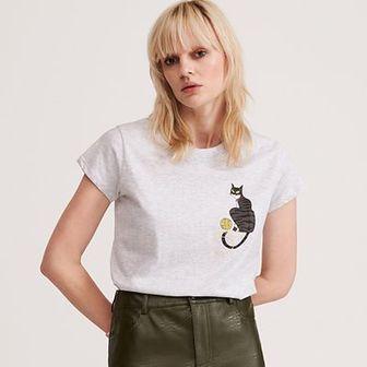 Reserved - T-shirt z bawełny organicznej - Jasny szary