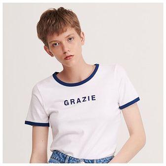 Reserved - T-shirt z napisem - Granatowy