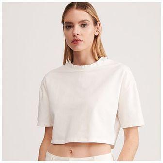 Reserved - Krótka bluzka ze ściagaczem - Kremowy