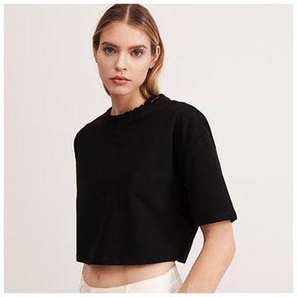 Reserved - Krótka bluzka ze ściagaczem - Czarny