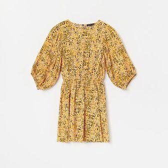 Reserved - Wzorzysta sukienka z wiskozy - Żółty