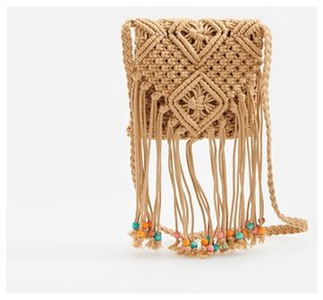 Reserved - Pleciona torebka z frędzlami - Beżowy