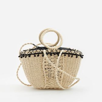 Reserved - Pleciona torebka koszyk - Beżowy