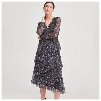 Reserved - Wzorzysta sukienka - Czarny