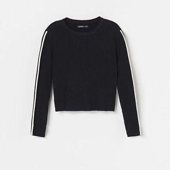 Reserved - Sweter z kontrastowymi lampasami - Szary