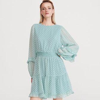 Reserved - Sukienka w kropki - Turkusowy