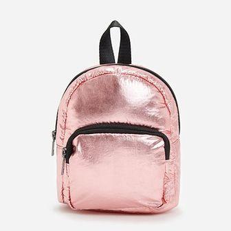 Reserved - Plecak z metalicznym połyskiem - Różowy