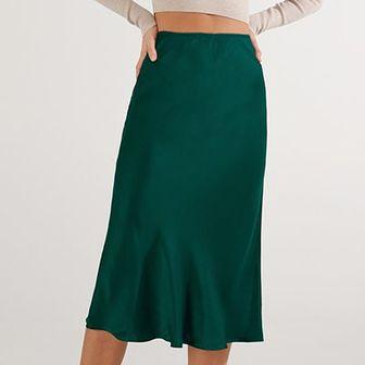 Reserved - Satynowa spódnica - Zielony