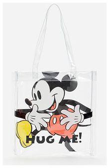 Reserved - Transparentna torba shopper z Myszką Miki - Biały