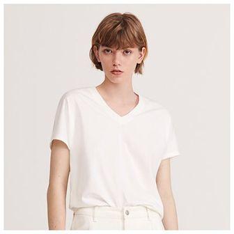 Reserved - Gładki T-shirt z dekoltem V - Biały