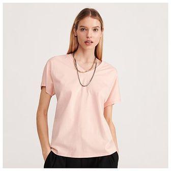 Reserved - Gładki T-shirt z dekoltem V - Pomarańczowy