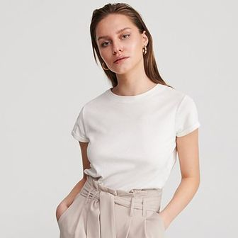 Reserved - T-shirt z bawełny i konopii - Kremowy