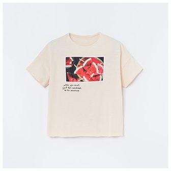 Reserved - Bawełniany t-shirt z aplikacją - Beżowy