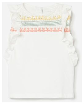 Reserved - Bawełniana bluzka z falbankami - Kremowy