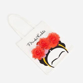 Reserved - Torba shopper z Fridą Kahlo - Biały