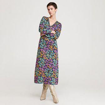 Reserved - Sukienka z żakardowej dzianiny - Wielobarwny