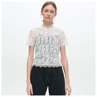 Reserved - Koronkowa bluzka ze stójką - Kremowy