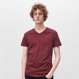 Reserved - T-shirt z dekoltem w serek - Bordowy